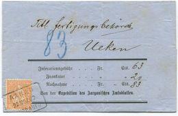 1775 - 20 Rp. Sitzende Helvetia (Faser) Auf Nachnahme Von AARAU Nach UEKEN - 1862-1881 Sitzende Helvetia (gezähnt)