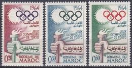 Marokko Morocco 1964 Sport Spiele Olympia Olympics Tokyo Tokio Fackel Torch Ringe, Mi. 538-0 ** - Marokko (1956-...)