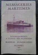 Messageries Maritimes  Madras Pondichery Allepey Livret Renseignements à L'usage Des Passagers 1931 - Livres, BD, Revues