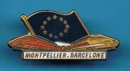 PIN'S //  ** TRAIN / SNCF ** TGV / EUROPE ** MONTPELLIER / BARCELONE ** . (Saphir) - TGV