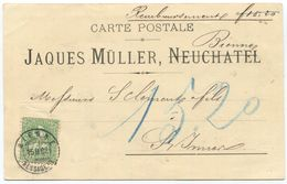 1776 - 25 Rp. Sitzende Helvetia (Faser) Auf Nachnahme Von BIENNE Nach ST. IMIER - 1862-1881 Sitzende Helvetia (gezähnt)