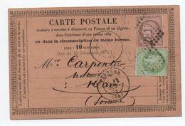 1874 - CARTE PRECURSEUR De PERONNE (SOMME) Avec GC 2817 Sur N° 53 & 58 - Poststempel (Briefe)