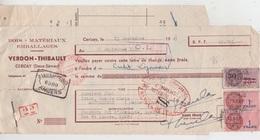 LETTRE DE CHANGE 1949 / VERDON THIBAULT à CERIZAY (79) - BOIS MATERIAUX EMBALLAGES - Cheques & Traveler's Cheques