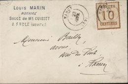 Guerre 1870 YT 5 Alsace Lorraine Cachet Commercial Notaire à Faulx Et Oblit Par CAD Français Nancy Sans Millésime 1871 - Guerre De 1870
