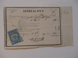 """Reçu Du Lycée Du Puy (43) """"l'économe Reconnait Avoir Reçu 184 Frs Par Mr Pecquery"""" En 1879. - Diploma & School Reports"""