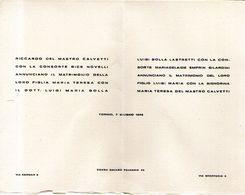 B 1759 -  Partecipazione Di Nozze, Torino 1948 - Annunci Di Nozze