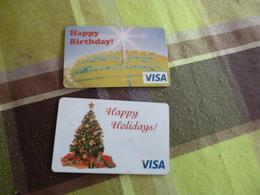 2 Cartes Visa Happy HollidaysBirthdays Incard Technologie - Autres