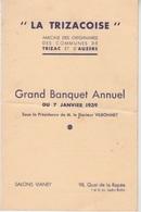 MENU 1939 - GRAND BANQUET ANNUEL - LA TRIZACOISE - AMICALE DE TRIZAC ET AUZERS - Menus