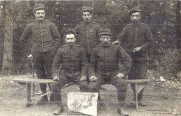"""5 MILITAIRES DU 11 """"CAMPAGNE 1914  MORT AUX BOCHES""""   Carte Photo - Guerre, Militaire"""