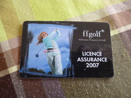 Carte Licence Assurance 2007 Golf FFGOLF - France