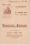 MENU 1939 - BANQUET ANNUEL De L'ASSOCIATION LA RIOMOISE (RIOM ES MONTAGNES) - Menus