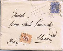 Busta Con Lettera Da Figlio In UK A  Generale Sante Giacomelli ( Udine )- Viaggiata 1902 Con Segnatasse Supplementare - Storia Postale