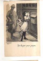 Illustrateur BREVAL 1916,Un Baiser Pour Papa, Militaire, Fillettes, Boite A Lettres,oeuvre Du Soldat Ardennais Paris - Militaria