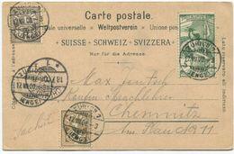 1781 - UPU 1900 + Wertziffer Mischfrankatur Auf Litho Ansichtskarte Von ZÜRICH Nach CHEMNITZ (DE) - 1882-1906 Armoiries, Helvetia Debout & UPU