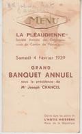 MENU 1939 - BANQUET ANNUEL De L'AMICALE LA PLEAUDIERE - CANTON DE PLEAUX - Menus