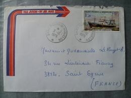 SUR LETTRE TIMBRE BATEAU  DE PECHE LE CROIX DE LORRAINE 1976 - St.Pierre Et Miquelon
