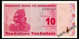 ZIMBABWE 10 DOLLARS 2009 Pick 94 Unc - Zimbabwe