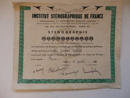 Diplôme D'institut Sténographique De France De Melle Gilberte Jasset à Paris Le 2 Juillet 1950. - Diplomi E Pagelle