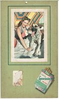 PUBLICITE CIGARETTES SUPERMINT MENTOL CARK TIPPED  - PIN UP Avec Son Chien  ( Photo Collée ) Plaque En Carton - Paperboard Signs