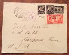 PER L'ESTERO  BUSTA PER   U.S.A. CENSURATA DA CASTELFRANCO IN MISCANO CON P.A.50+50 FRATELLANZA ARMI 20 C. + 5 IMPERIALE - Poststempel