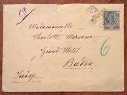 PER L'ESTERO  BUSTA Con 25 C. FLOREALE ISOLATO DA NERVI A BADEN SUISSE IL 24/6/1904 - Storia Postale