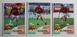 3 Carte PANINI 1994 MILAN AC Italie Paolo Maldini Marco Van Basten Franco Baresi - Panini