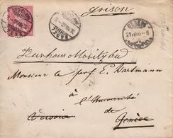 Brief Aus Basel, , Nach Genf, St-Moritz-Bad, Hagenbach, Ambulant, Grisons 22.VII.1880, Siegelstempel - 1862-1881 Sitted Helvetia (perforates)