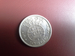 Portugal Colonia  Timor   10 Escudos 1964    Silver , Prata Ag.650    7gr. - Portugal