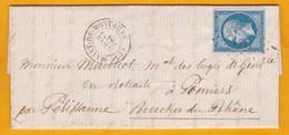 1862 - Lettre Avec Correspondance De 3 Pages De Mayet De Montagne, Allier Vers Pélissane, Bouches Du Rhône - 1862 Napoleon III
