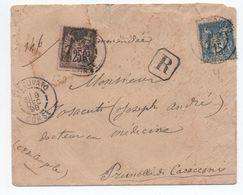 1898 - ENVELOPPE RECOMMANDÉE De VESCOVATO (CORSE)  Avec SAGE - Marcophilie (Lettres)