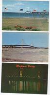 5 Different MICHIGAN, USA,  Mackinac Bridge, Old Chrome Postcards - Etats-Unis
