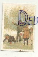 Etiquette Double Cadeaux. Enfants Dans La Neige. 5/7 Cm - Cartes Cadeaux