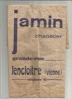 SAC PAPIER PUBLICITAIRE , Publicité , Jamin ,chapelier ,LENCLOITRE ,Vienne ,frais Fr 1.95 E - Advertising