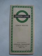 LONDON TRANSPORT. GREEN LINE. COACH ROUTES - UK, ENGLAND,  1953. - Transportation Tickets