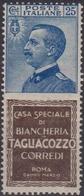 Italia Regno PUBBLICITARIO – 177 ** 1924-25 – 25 C. Tagliacozzo N. 8. Cat. € 2600,00. Cert. Biondi. - Pubblicitari