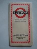 LONDON TRANSPORT. BUS MAP CENTRAL AREA INCLUDING TROLLEYBUSES - UK, ENGLAND, 1953. - Transportation Tickets