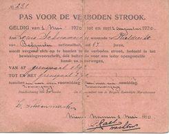 Grens Verkeer Kieldrecht, 1920, Pas Voor Verboden Strook,  Landbouw Grensovergang, Smokkelen. - Vervoer
