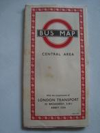 LONDON TRANSPORT. BUS MAP CENTRAL AREA - UK, ENGLAND, 1950. - Transportation Tickets