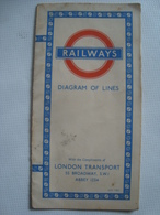 LONDON TRANSPORT. RAILWAYS. DIAGRAM OF LINES - UK, ENGLAND, 1950. - Transportation Tickets