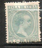 CUBA  Alfonso XIII 5c Vert Gris 1890 N°76 - Kuba (1874-1898)