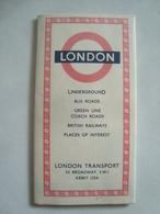 LONDON TRANSPORT. LONDON UNDERGROUND BUS ROADS GREEN LINE COACH ROADS BRITISH RAILWAYS PLACES OF INTEREST - ENGLAND 1950 - Transportation Tickets