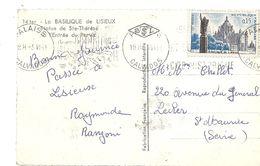 Maxicarte Carte Postale 14 LA BASILIQUE De LISIEUX Statue De Ste Thérèse Entrée Du Parvis Timbre 0.15 Bus Car Automobile - Maximum Cards