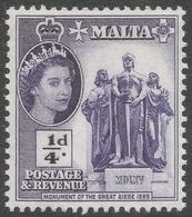 Malta. 1956-58 QEII. ¼d MNH. SG 266 - Malta