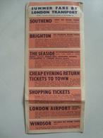 SUMMER FARE BY LONDON TRANSPORT - UK, ENGLAND, 1955 APROX. - Transportation Tickets
