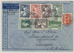 Nederland - 1946 - 8 Zegels Op First Flight KLM Amsterdam Naar Curacao - Periode 1891-1948 (Wilhelmina)