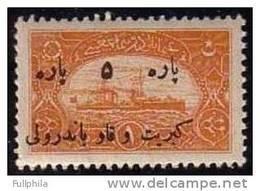 1921 TURKEY BLACK OVERPRINTED SHIP FISCAL STAMP 5/1 KR. MNH ** - 1858-1921 Ottoman Empire