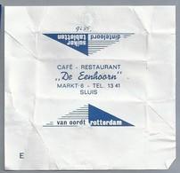 Suikerwikkel.- CAFÉ RESTAURANT - DE EENHOORN -. MARKT 6, SLUIS. TEL. 13 41. Sugar. Zucchero. Suiker. - Suiker