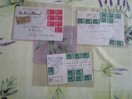 Lot De 3 Lettres Recommandées Affranchis Marianne De Becquet - Postal Rates