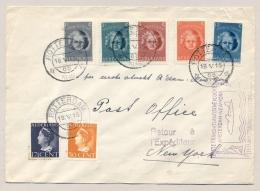 Nederland - 1946 - Cover Met Oa Complete Kind-serie First Flight Van Rotterdam Naar New York - Periode 1891-1948 (Wilhelmina)
