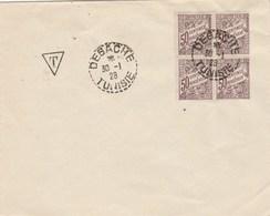 Tunisie  Yvert Taxe 32 Bloc De 4  Cachet Perlé DEGACHE 30/1/1928 - Tunisia (1888-1955)